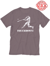 who's on first baseball touchdown t-shirt asphalt lefty made in the usa