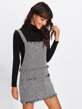Fringe Detail Tweed Overall Dress