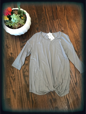 Grey 3/4 Sleeve front knotted tunic