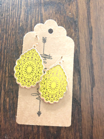 Mustard Tear Drop Earrings