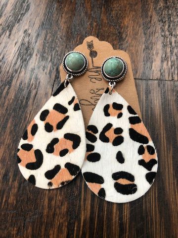 Turquoise Stud Leopard Leather Earrings