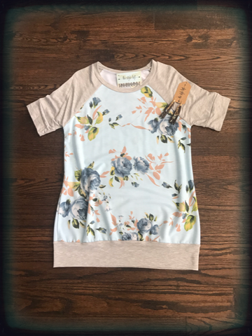 Blue Floral Raglan French Terry