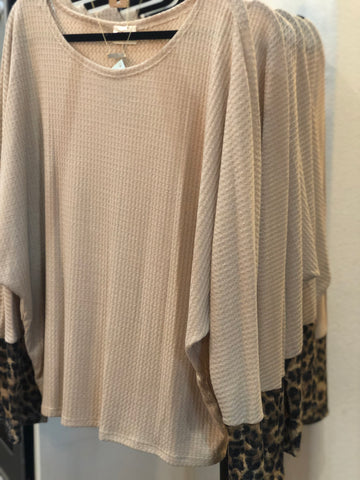 Taupe Thermal Waffle Wide Neck Top Leopard Cuff