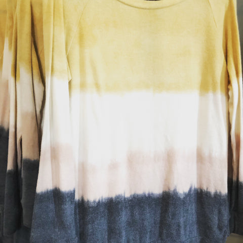 TSL Mustard, Ivory, Taupe, Charcoal Super Soft Tie Dye Color Block