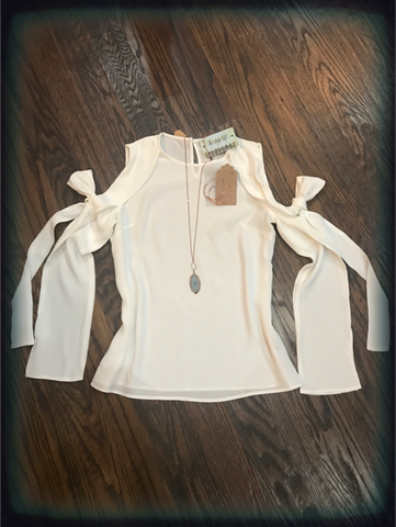 White Cold Shoulder Ribbon Sleeve Shirt