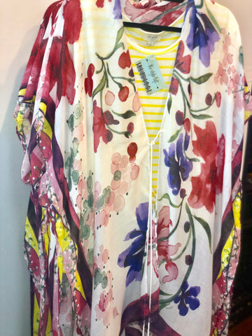 Pink Floral Water Color Kimono