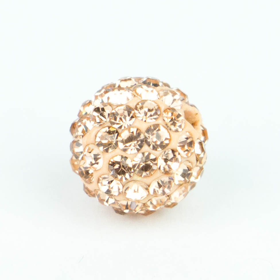 Crystal Pave Beads 8 mm Peach