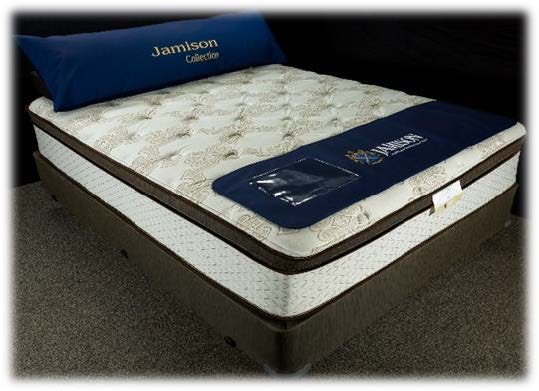 Jamison The Latex Collection hybrid mattress with coil spring bottom and latex top in euro top