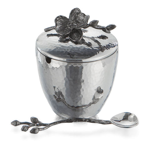 Black Orchid Mini Pot with Spoon, Michael Aram - RSVP Style