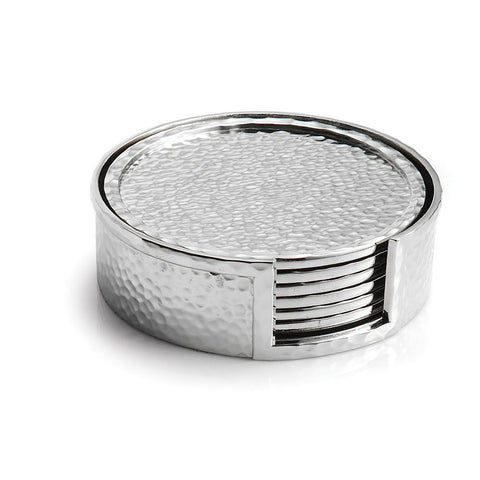 Silver Hammertone Drink Coasters  |  Set of 6