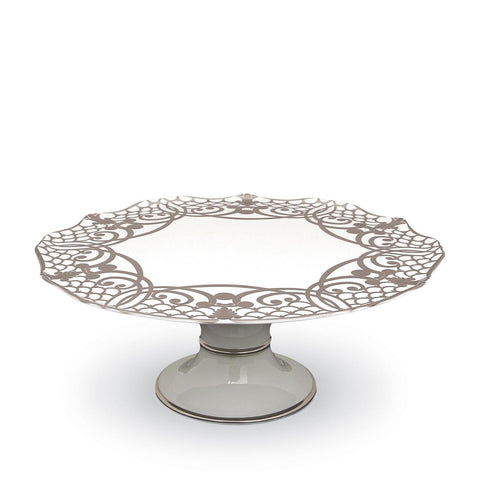 Alencon Silver Footed Cake Plate, L'Objet - RSVP Style