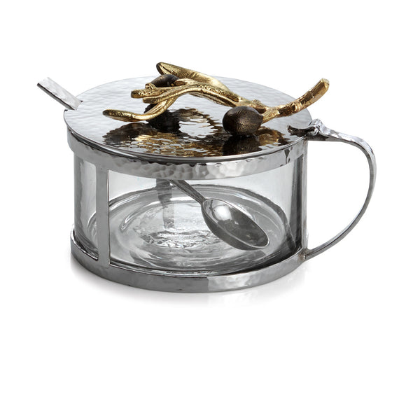 Olive Branch Gold Condiment Container with Spoon