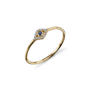 Yellow-Gold & Diamond Small Beze Evil Eye Ring With Blue Saphire Center