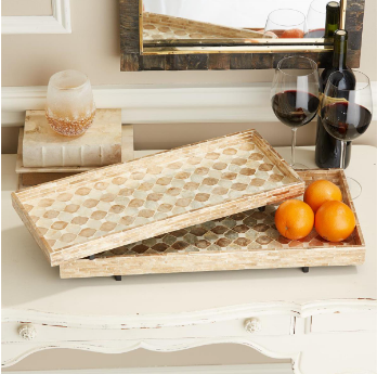 Mother of Pearl Footed Tray