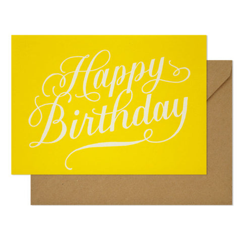 Happy Birthday Calligraphy on Yellow Card
