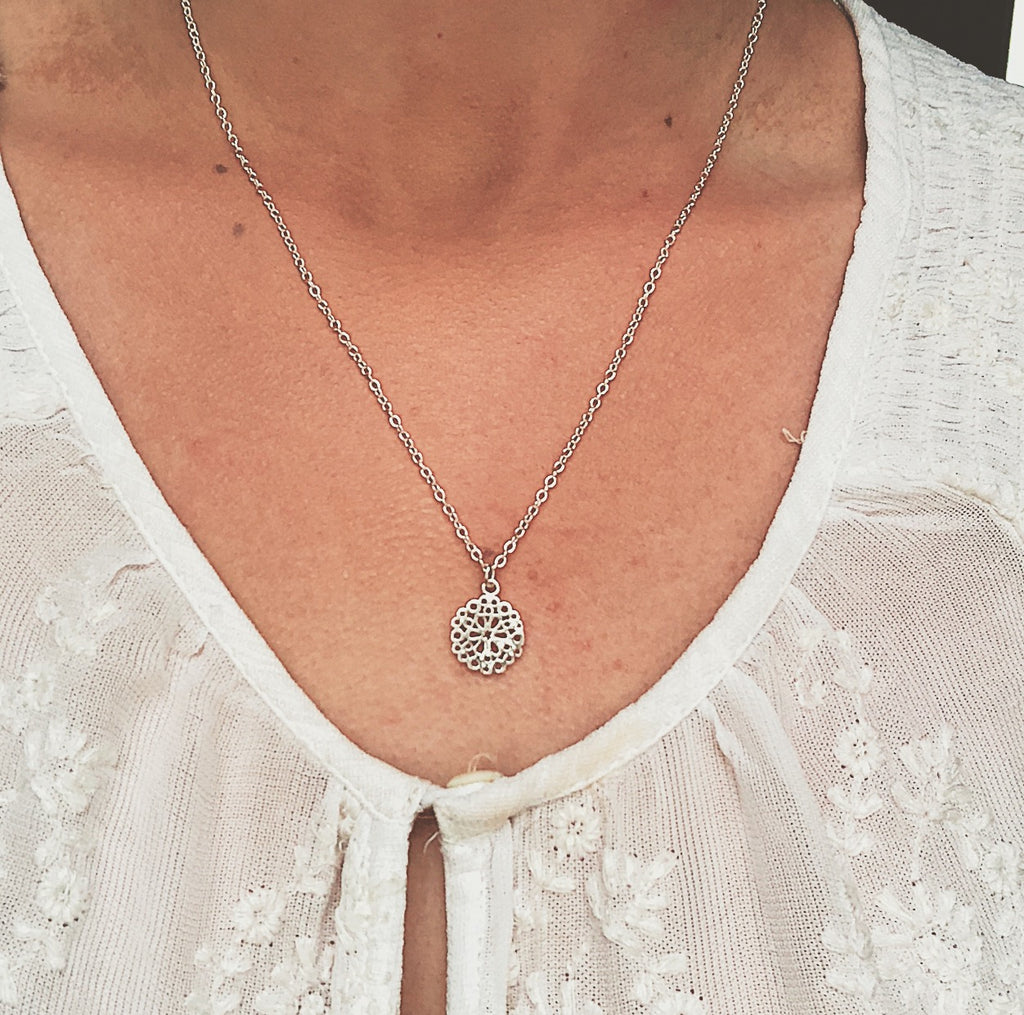 filigree flower circle sterling silver necklace - Jenems