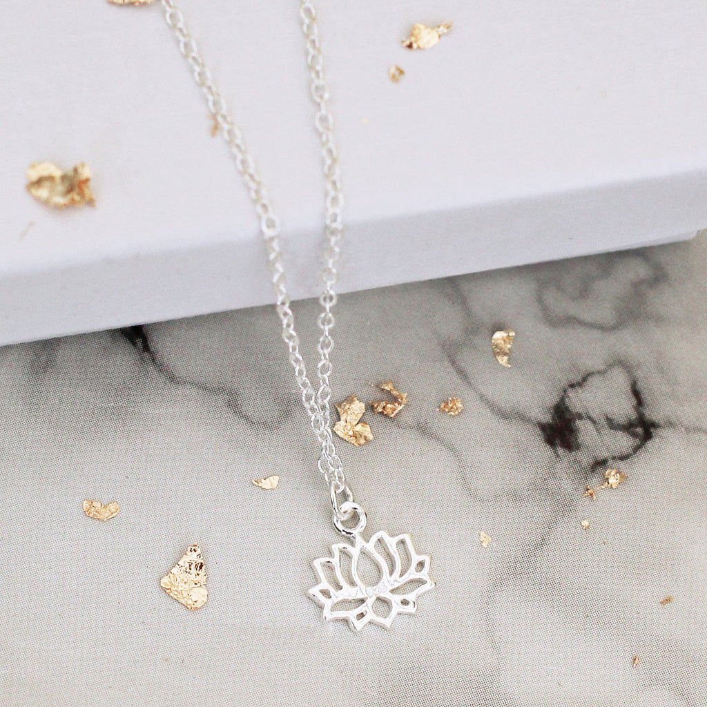 lotus flower sterling silver necklace - Jenems