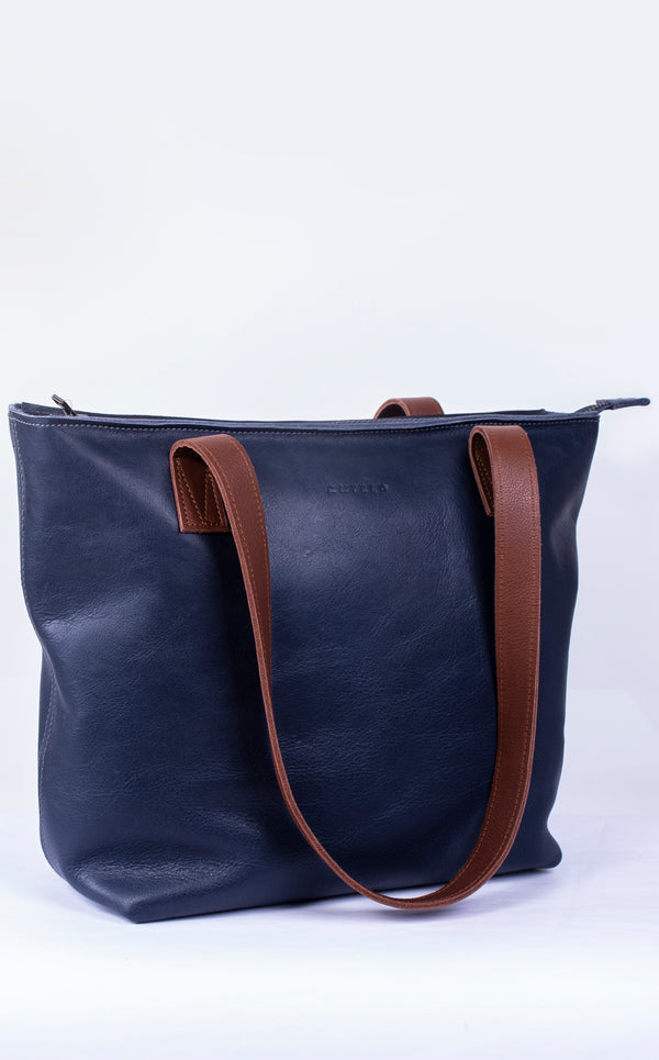 Emmy Unlined Leather Tote Zip