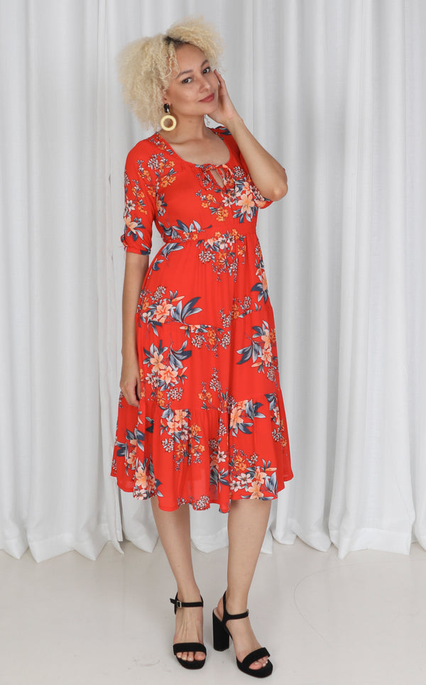 Red Floral Gypsy Dress