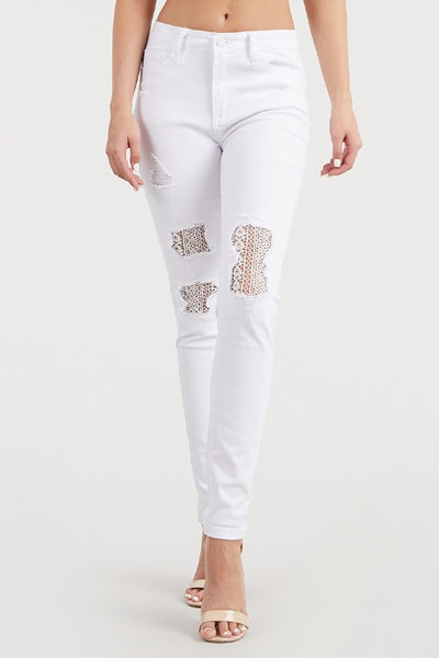84133   White Lace Patch Skinny
