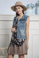 SB-011F   Denim Vest w/ Paisley Pattern Embroidery Detail