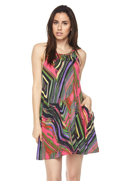 3743   Print Halter Neck Dress/Tunic