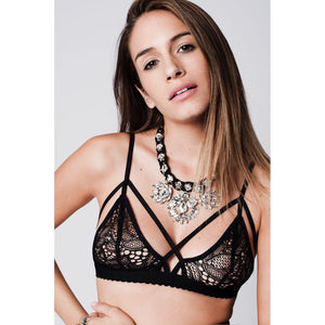 Crochet Lace Strappy Triangle scallop bralette in black