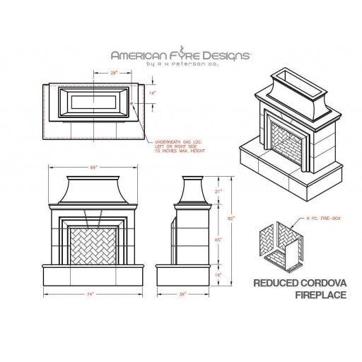 American Fyre Designs Reduced Cordova Fireplace