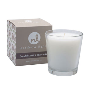 Northern Lights Candles / White Candle - Sandalwood & Patchouli