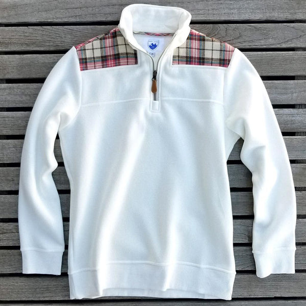 The Uppsala Pullover in White with Plaid by Nordic Fleece - FINAL SALE - Nordic Fleece - The Sherpa Pullover Outlet