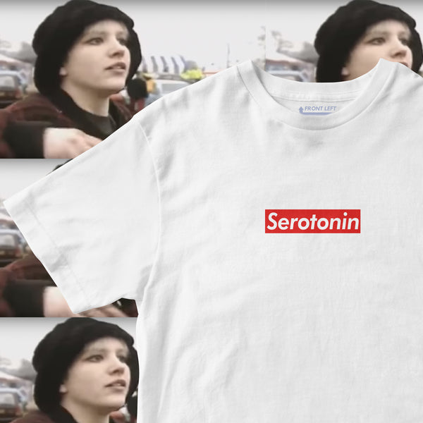 supreme box logo tee with serotonin written on it. bootleg. dance rave culture festival t shirt