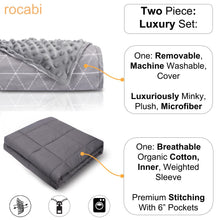 Luxury Weighted Blanket & Removable Minky Cover by rocabi - Adult Weighted Blanket by Rocabi