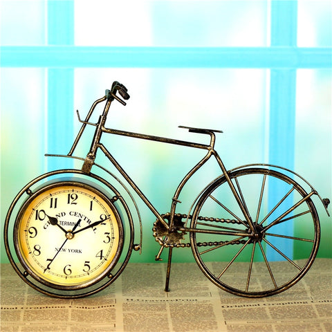 Table Desk Top Retro Iron Bicycle European Rural Alarm Clock