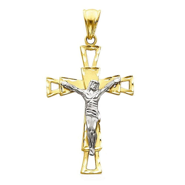 14k Gold Two Tone Crucifix Cross Large Pendant Charm