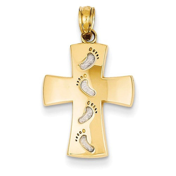 14k Yellow Gold and Rhodium Footprints Cross Pendant Charm