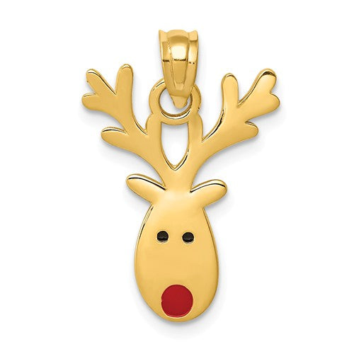 14k Yellow Gold with Enamel Reindeer Christmas Pendant Charm