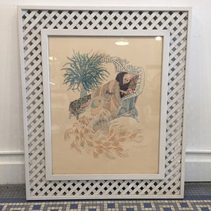 Vintage Bohemian Deco Style Peacock Lithograph By Harry Wysocki
