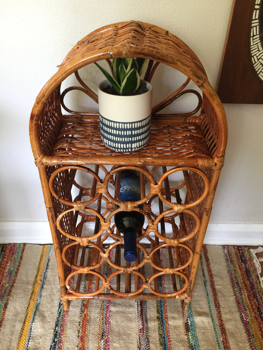 Vintage Boho Rattan & Wicker Wine Storage Shelf