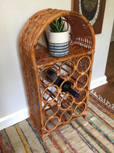 Load image into Gallery viewer, Vintage Boho Rattan & Wicker Wine Storage Shelf