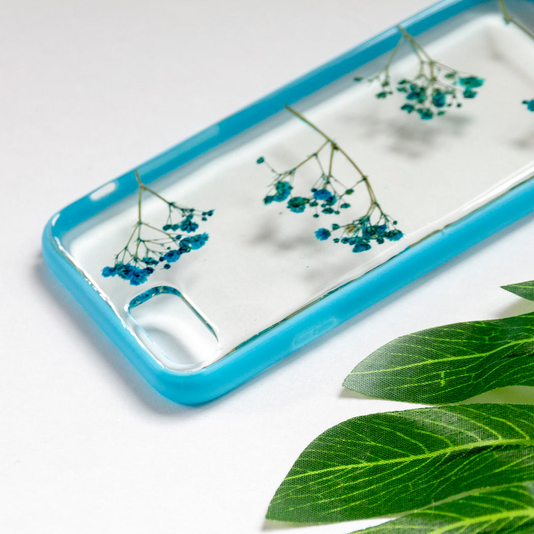 Sky Delight Floral Neverland Floralfy Real Pressed Blue Babys Breath Flower Floral Foliage Botanical Anti Drop iPhone 7 8 Bumper Case 05