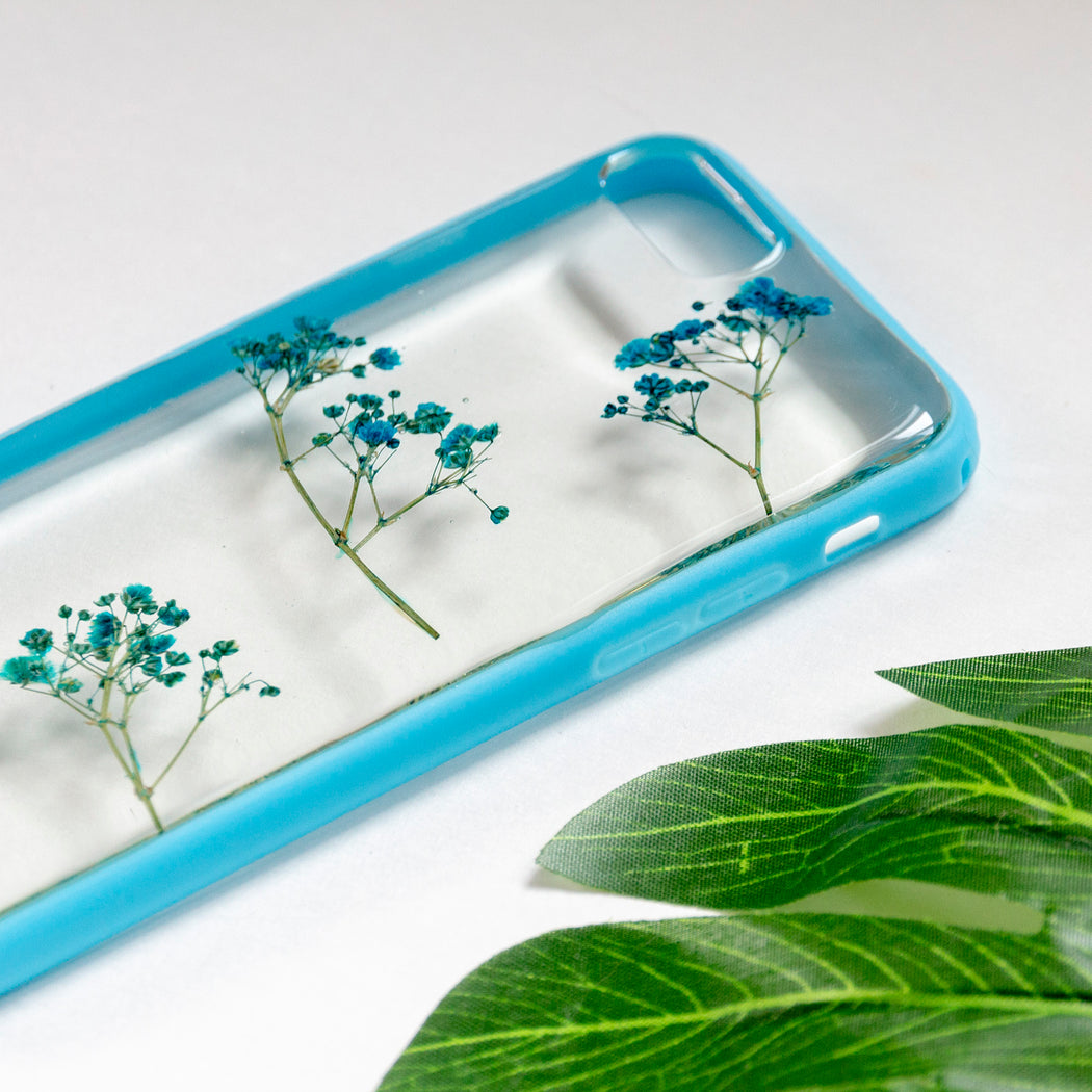 Sky Delight Floral Neverland Floralfy Real Pressed Blue Babys Breath Flower Floral Foliage Botanical Anti Drop iPhone 7 8 Bumper Case 04