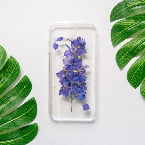 Real Pressed Purple Flower Clear iPhone 7 8 Case Floral Neverland Floralfy 01
