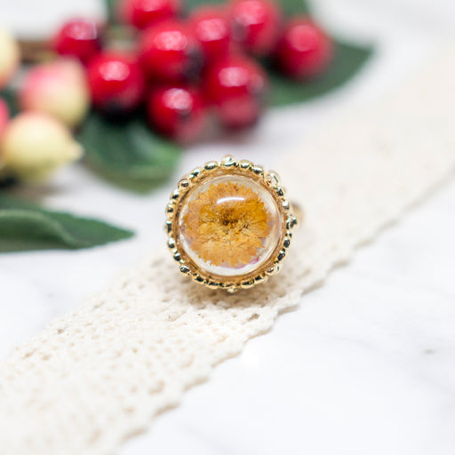 Real Chrysanthemum Flower Adjustable Gold Plated Vintage Ring, Real Flower Jewelry