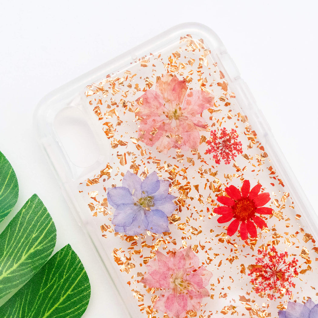 pressed flower iphone case cute protective anti drop bumper luxury wildflower rose gold foil glitter floral neverland floralfy