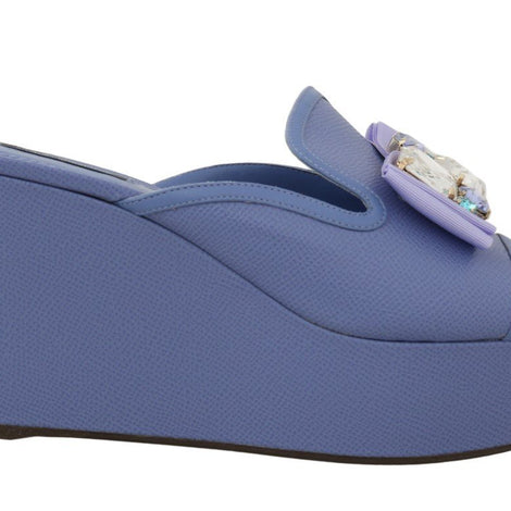 Dolce & Gabbana Purple Leather Crystal Wedge Slides