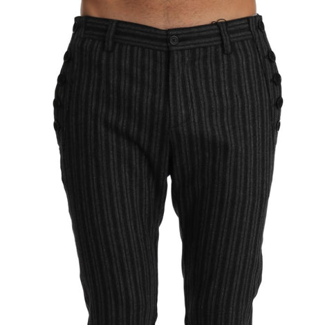 Dolce & Gabbana Gray Wool Striped Cropped Trousers Pants