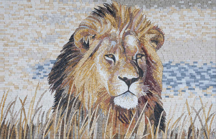 Fierce Lion - Marble Mosaic Mural