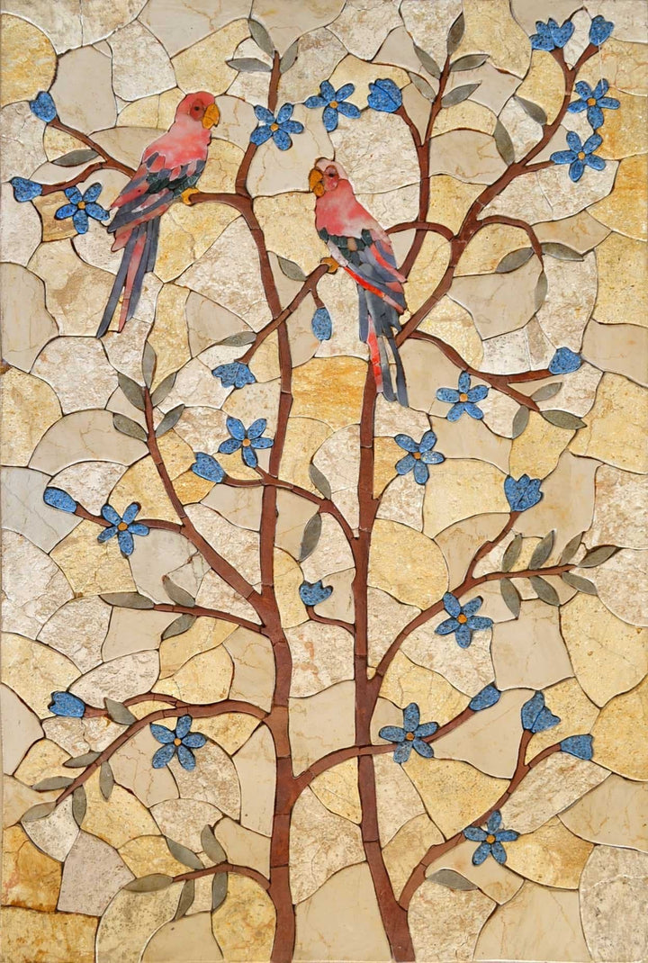 Mosaic Artwork - Birds on Trees