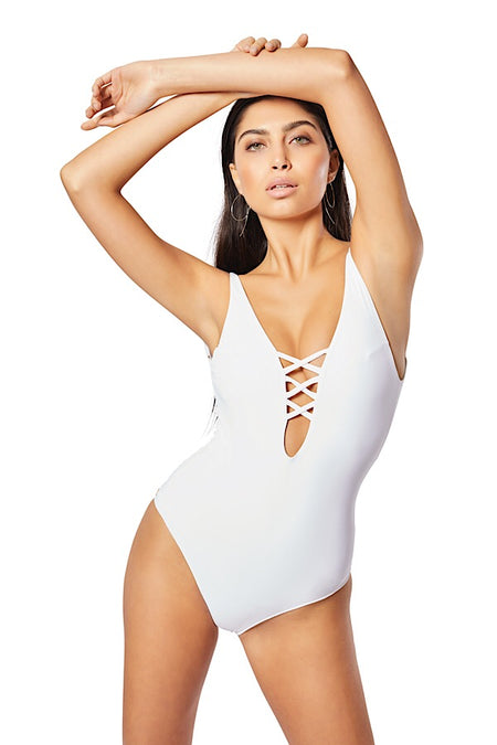Eden One Shoulder One-Piece, White