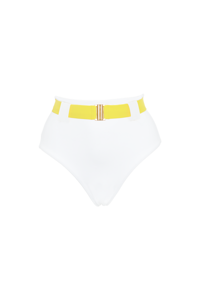 The Honey High Rise Brief, White/contrast canary